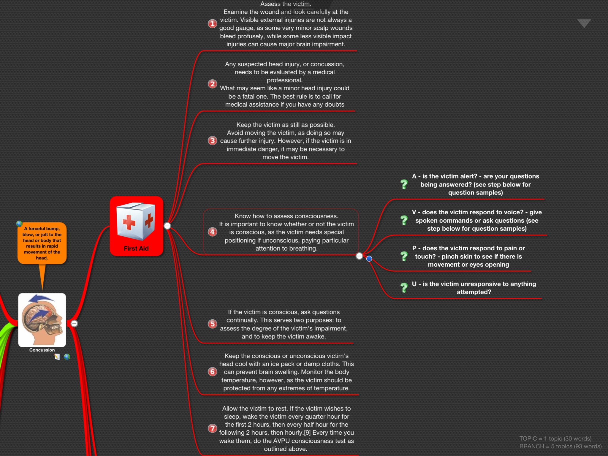 Mind Map 'Concussion' – iNotes4You