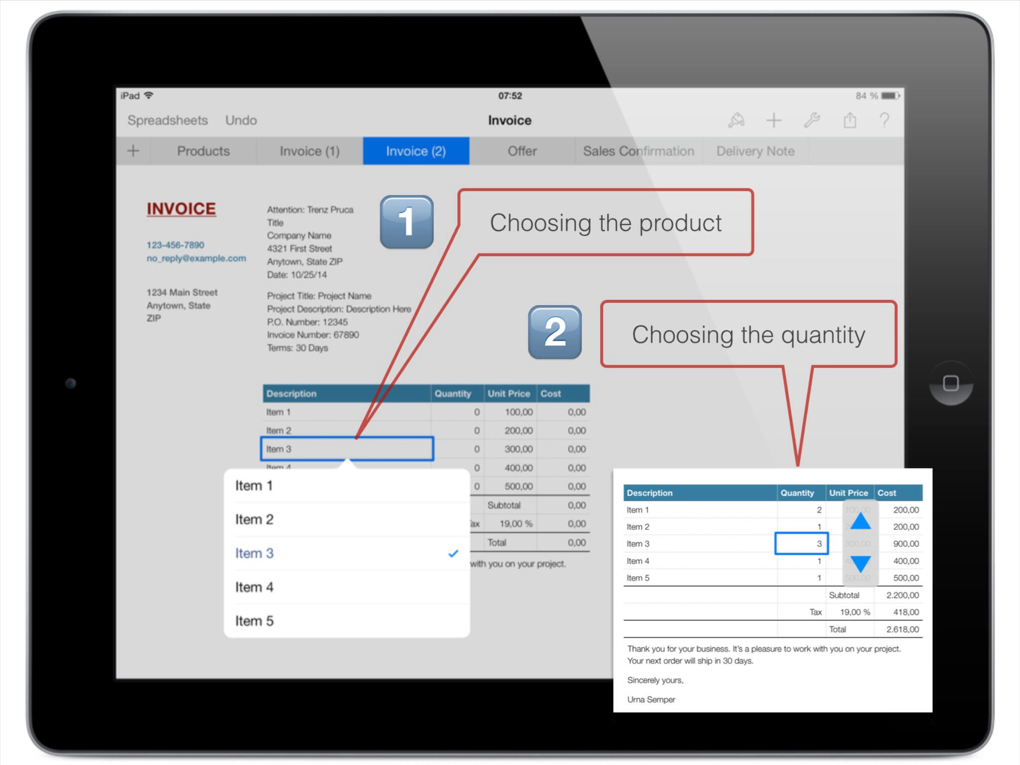 An Invoice Created With Numbers INotesYou - Apple numbers invoice system